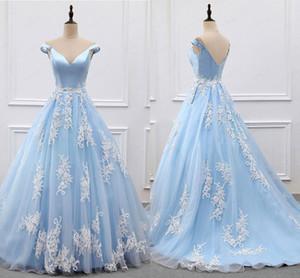 Nuovi abiti leggeri da Sky Blue Prom 2019 Appliques dalla spalla Backless sexy A allini sweep treno partito di spettacolo abiti a buon mercato personalizzate