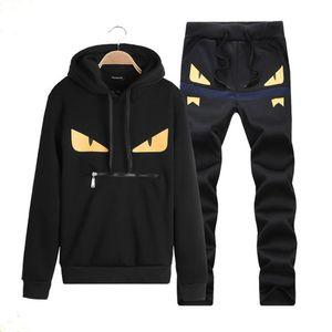 Wholesale-Print Hoddies For Men Zipper Design Felpa da uomo completo manica Mens Tuta Set Streetwear survêtement homme marque 2015