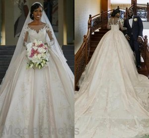 2019 Long Sleeves Chapel Train Wedding Dresses Sheer Neckline Lace Appliques Illusion Back Elegant Vintage Bridal Gowns Vestidos De Noiva
