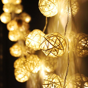 Toptan-yeni yıl Noel dekorasyon süslemeleri natal noel LED ışıkları açık havada pil Rattan Topu Dize Peri Işıklar Xmas Için