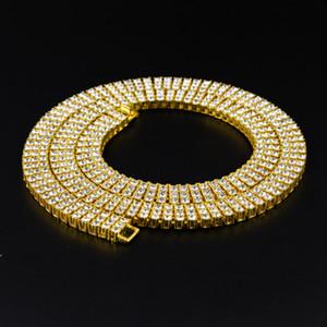 Высокое Качество Мужские 3 ряда Квадратных Камней Diamond Link Хип-Хоп Кубинского Цепи Ожерелье Рэппер Мода Bling Iced Out Cz кристалл T показать Кубра Ювелирные Изделия