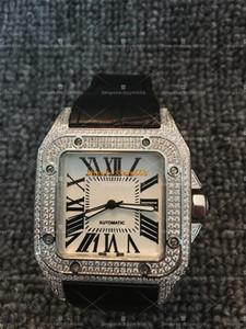 Santos100 Voller Diamanten Uhr Hochwertige Automatische Bewegung Mechanische Mannuhr 42mm Silber Lederband 316 Edelstahl Iced Out Wat