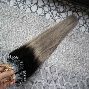 أومبير البرازيلي مايكرو حلقة نانو حلقة الشعر 100 جرام 1b / الفضة رمادي الشعر مستقيم الإنسان ريمي الشعر الطبيعي