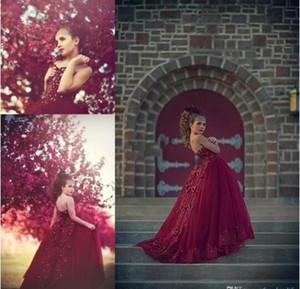 Design árabe Borgonha Menina do Pageant Vestidos de Tule Appliqued Frisada Arco Crianças Florais Glitz Meninas Vestidos de Menina Vestido de Princesa Menina