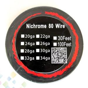 أفضل نيتشروم 80 سلك 30 قدم awg 22 24 26 28 30 32 التدفئة المقاومة لفائف الفتيل ل diy rda dhl شحن