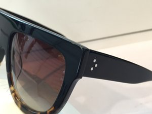 41026 خمر النظارات الشمسية أودري أزياء المرأة مصمم الإطار الكبير رفرف الأعلى المتضخم الأعلى النظارات الشمسية ليوبارد الكمبيوتر اللوح الخشبي الإطار المواد