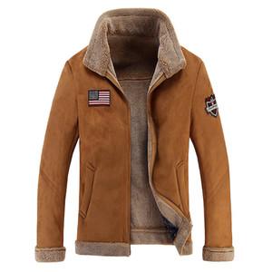 Toptan ücretsiz kargo erkek Hava Kuvvetleri Bombacı Temel Mont Ceketler Kış Adam Erkekler için Kalın Deri Ceket Giyim Me