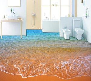 Top Clássico 3D Estilo Europeu Praia ondas 3D piso do banheiro pintura papel de parede para banheiro à prova d 'água