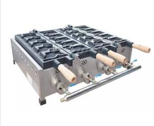 Envío libre Tipo de gas 10 UNIDS boca abierta Máquina de hacer gofres de helado de hielo Máquina de Taiyaki LLFA