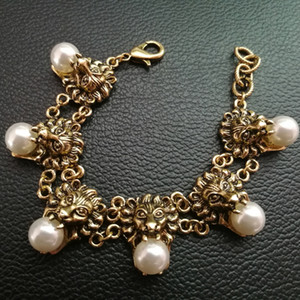 New Vintage Metal leo Head Bracelets for women Pearl bracelets fashion punk jewelry 2017 Ancient Animal Bijoux Bridal female accessories