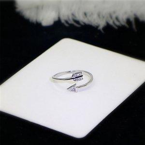 925 실버 오픈 큐피드 사랑 화살표 지르콘 반지 여성을위한 원래 레이디 손가락 조절 랩 보석 반지