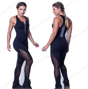 Sexy Black Mesh Patchwork Jumpsuit Bodycon Fitness Fitnessstudio Overalls Leggings Tiefem V-Ausschnitt Reißverschluss Bodysuit Stretchy Frauen Playsuits