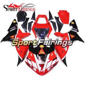 Yamaha YZF1000 R1 için komple Motosiklet Parlak Kırmızı Siyah Beyaz Fairings 02 03 2002 2003 Enjeksiyon ABS Fairings Kaporta Vücut Çerçeveleri
