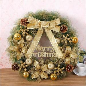Рождественский венок для праздничных украшений 50см сосны иглы гирлянды подвесные золотые рождественские украшения кольцо рождественское подарок