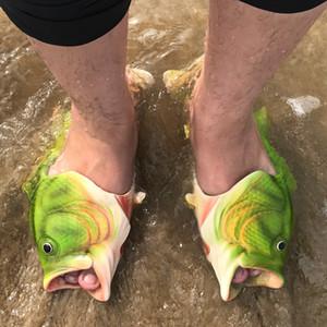 Moda Yaz ayakkabı erkekler sandalet Komik terlik Yetişkin Erkek Balık Flip Flop Sandalet Kauçuk Plaj Nefes yenilik terlik