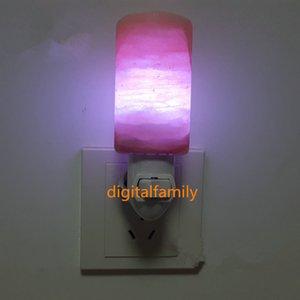 Nueva sal del Himalaya natural Lámparas de pared purificador de aire con luz de noche decorativa Luz de noche Lámpara de cristal de guardería Lámpara de cristal natural EE. UU. / Reino Unido