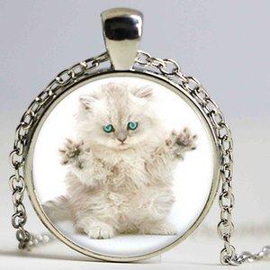 Lot Farsça Kedi kolye, yuvarlak yüz ve uzun saç kolye cam Fotoğraf Kedi Takı kolye