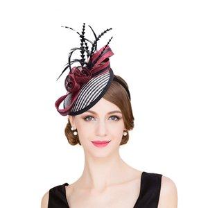 Womens Sinamay Raffia Base Fascinator Feather Cocktail Party Hat Wedding Church Dress Kentucky Derby Headbands T221