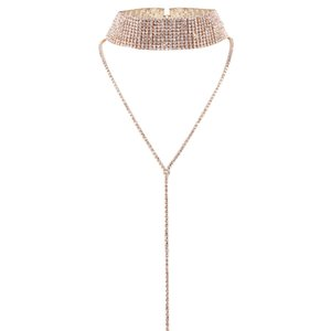Gargantilla Oro Plata Marca idealway Encanto plateado embutido plana clara cadena Rhinestone lleno Collar Especial