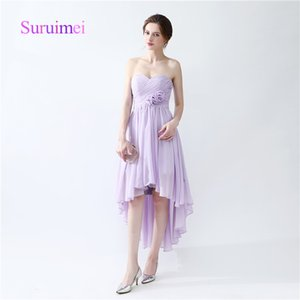 Fast Shipping Sweetheart Sexy Prom Dresses Robe De Soiree Tea Length Chiffon Formal Evening Gowns with Flower