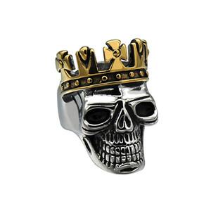 MCW Punk Titanium Ring in acciaio inox Biker King of Skull Cross Crown Skeleton Anello Gothic per gioielli da uomo