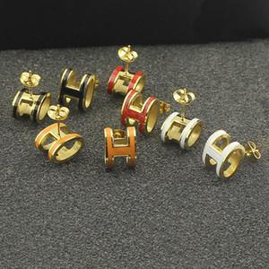 Moda jewerly Brincos Do Parafuso Prisioneiro de Ouro 18 K Titanium Aço Semicírculo Brincos Clássicos Do Amor Para As Mulheres Presente Da Jóia Piercing para o casal