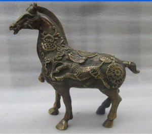 Aufwendige chinesische kupferne alte manuelle blühende Geschäftspferd verheißungsvolle Statue