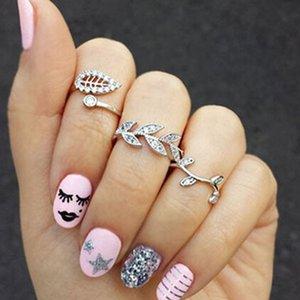 New Frozen 3pc set Rhinestone Finger Rings Alloy leaf Cluster Rings Women Jewelry New Elegant Knuckle Ring Midi Rings