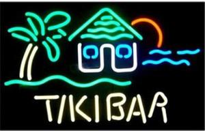 """Tiki Bar Palm Tree Tiki Hut Ev Neon Burcu Özel El Yapımı Gerçek Cam Ev Dekorasyon Sanatı Pub Kulübü Ekran neon İşaretler 24 """"X20"""""""