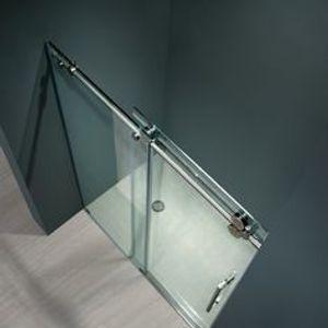 6.6FT Walk Inline coulissante porte de douche de grange twin roller matériel de kit de rails de glissement en verre sans cadre USA nouveau