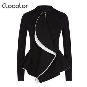 Wholesale- Clocory Women Blazer Coat 2017 Primavera Black Tops Girls Blazer O Cuello Zipper Trabajo Use Manga Larga Peplum Women Blazer