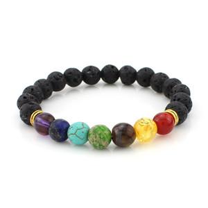 De alta qualidade Lava Rock Beads encantos Pulseiras Turquesa Tiger Eye Natural trecho de pedra Frisado Pulseira Para womenmen Moda Jóias