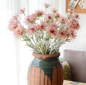 6 unids Artificial 3head tallo de la flor del crisantemo para el ramo nupcial de la boda Home Office Hotel Decoration