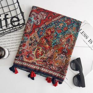 Boêmio floral retro lenço de algodão, senhoras primavera e verão viagem fotografia protetor solar xale cachecol atacado frete grátis
