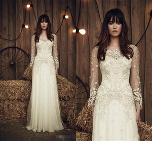 2019 제니 Packham 쉬어 롱 슬리브 아이보리 웨딩 드레스 환상 보트 넥 비즈 Applique 쉬폰 신부 가운 맞춤 제작