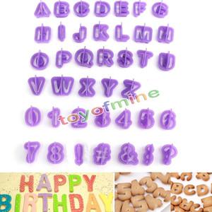 Al por mayor-40pcs púrpura alfabeto número letra Fondant Cake Decorating Set Icing cortador molde o cookie