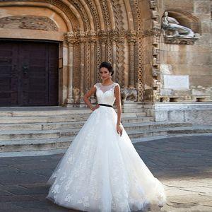 Vestido de novia A-Line Vestido de Noiva Illusion decote Casamento Lace vestidos de noiva Sexy Backless faixa preta vestidos de noiva apliques