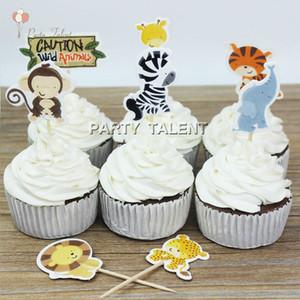 Toptan-Cup cake 48pcs Toppers çocuklar için çocuk doğum günü partisi Jungle Hayvanlar tema Parti Favor Cupcake Dekorasyon