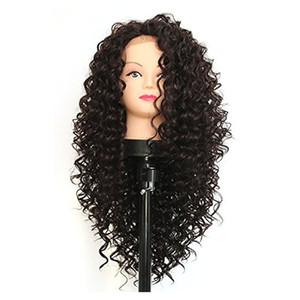 Длинные Afro Kinky завитые Синтетический фронта шнурка для женщин черный Термостойкое Половина руки связали волокна черного цвета волос Синтетические парики