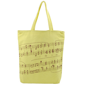 Thick Cotton Handbag Women Shopping Bags in Muisc Clef Theme Musical Notes Patterns -Yellow