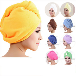 Atacado- 2017 8 cores de microfibra cabelo sólido turbante secar rapidamente chapéu de cabelo das mulheres meninas touca de banho ferramenta de banho cabeça de toalha de secagem chapéu envoltório