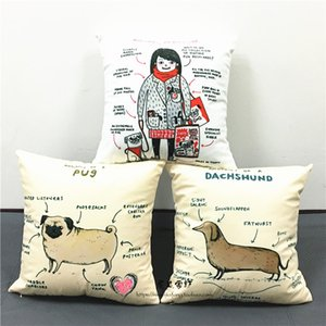 Cute Dachshund Sausages Dog Cushion Covers English Letters Pillow Cover Sofa Throw Decorative White Soft Pillow Case For Baby Kids Children