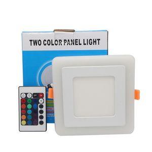 Umlight1688Ultra Slim 6W 9W 18W 24W Piazza nascosto doppio LED di colore luce di pannello Bianco freddo + blu / rosso / rosa / RGB lampada da incasso AC100-265V