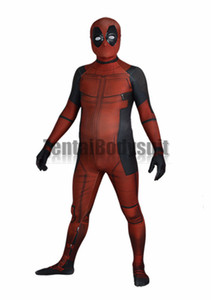 Deadpool Costume Bodysuit Printed Spandex Lycra Zentai Costumes with 3D Muscle Shading