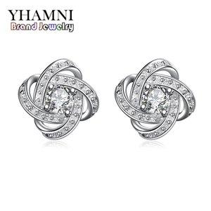YHAMNI Nueva Moda Earing Para Chica Puro Sólido 925 Plata CZ Diamante Cristalino Joyería de La Boda Charm Earing SE029