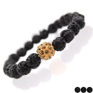 Moda Lava Rock borda i braccialetti delle donne Black High Polished Matte Crystal men Beaded bangle Clay Crystal charms Bracciale gioielli in vendita