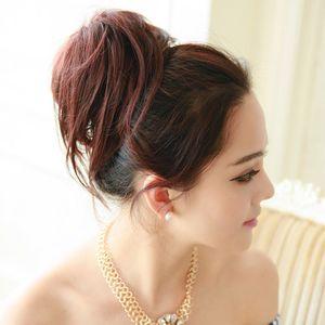 كبير العقدة الشعر الاصطناعية للجمال المرأة الجديدة الطبيعية كعكة طويلة تمديد آدمي فوضوي وهمية الشعر الكعك شحن مجاني