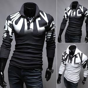 Nouveau polos de concepteur de chemises de printemps et d'automne marque vêtements de coton lettre impression chemises de luxe mince chemise à manches longues poloshirt hommes