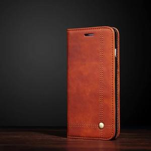 Custodia in pelle PU per iPhone 7 7 Plus 8 Retro Business Multi-funzione Kickstand Protezione completa Flip Cover per iPhone 5 6 6s Case