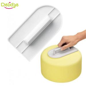 Toptan-1 adet Plastik Kek Pürüzsüz Parlatıcı Araçları Kek Dekorasyon Pürüzsüz Fondan Sugarcraft Kek Spatula DIY Pişirme Araçları